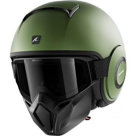 Casco vintage naked urban scrambler cafe racer Shark Street Drak verde militare opaco green mat helmet casque