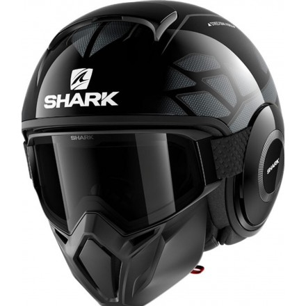 Casco vintage naked urban scrambler cafe racer Shark Street Drak Hurok nero argento black silver helmet casque