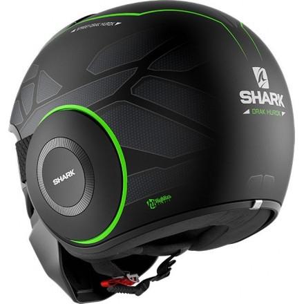 Casco vintage naked urban scrambler cafe racer Shark Street Drak Hurok nero opaco verde black green helmet casque