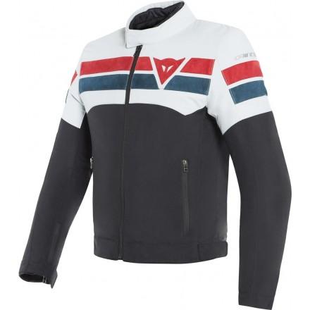 Giacca moto vintage cafe racer custom naked retro Dainese 8-Track Tex nero bianco rosso black ice rd jacket