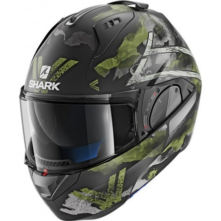 Casco modulare apribile convertibile moto Shark Evo One 2 Skuld Nero Opaco verde Antracite matt black green helmet casque