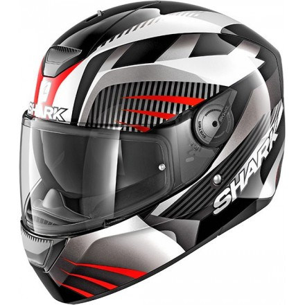 Casco integrale Shark D-Skwal Mercurium nero bianco rosso black white red helmet casque