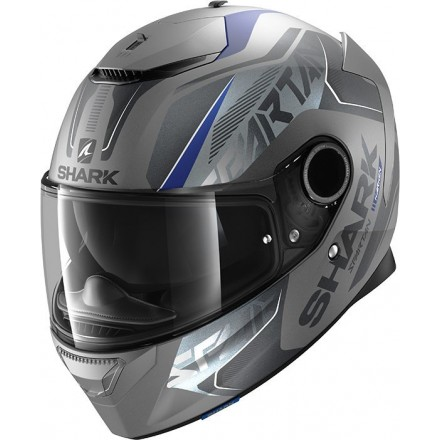 Casco integrale moto fibra Shark Spartan 1.2 Karken antracite opaco blu nero black matt blue helmet casque