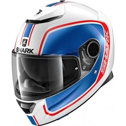Casco integrale moto fibra Shark Spartan 1.2 Priona bianco blu rosso white blue red helmet casque