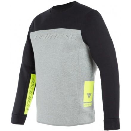 Felpa Dainese Contrast Sweatshirt nero grigio giallo black melange yellow