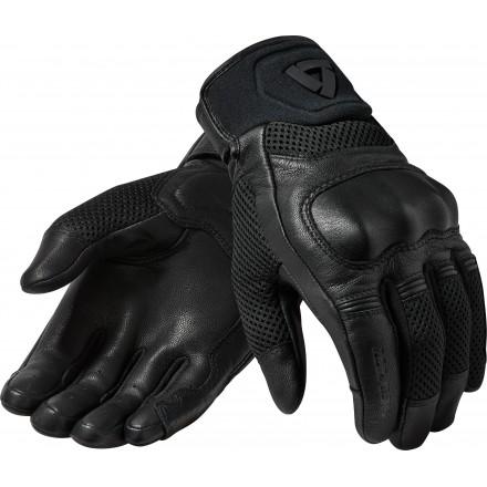 Guanti moto pelle e tessuto estivi Rev'It Arch nero Black leather texile summer gloves