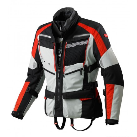 Giacca moto touring adventure 4 stagioni Spidi 4Season H2out nero grigio rosso black silver red jacket