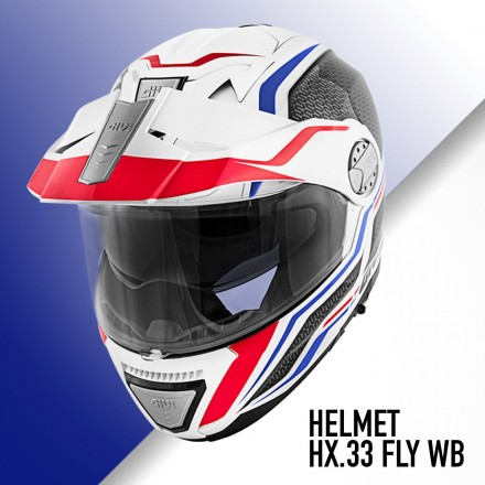 Casco modulare apribile enduro touring adventure moto Givi X.33 Canyon layers bianco rosso blu white red Flip up Helmet casque