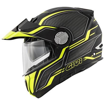 Givi X33 Canyon layers nero opaco giallo black matt yellow Casco modulare apribile touring adventure moto Flip up Helmet casque
