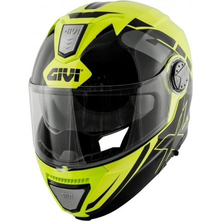 Casco modulare apribile moto Givi X.23 Sydney Eclipse nero giallo fluo yellow black Flip up Helmet casque