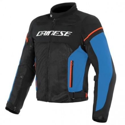 Giacca moto traforata estiva Dainese Air Frame D1 Tex Black light blue fluo red nero blu rosso jacket