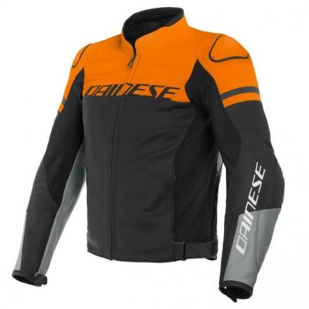 Giacca pelle moto sport naked touring Dainese Agile nero arancione black orange leather jacket