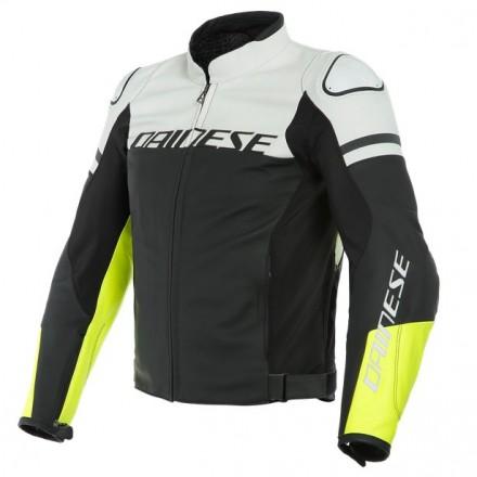 Giacca pelle moto sport naked touring Dainese Agile nero bianco giallo black white fluo yellow leather jacket