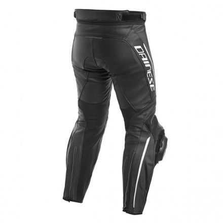 Pantalone pelle moto racing sportiva Dainese Delta 3 nero bianco black white leather pant trouser