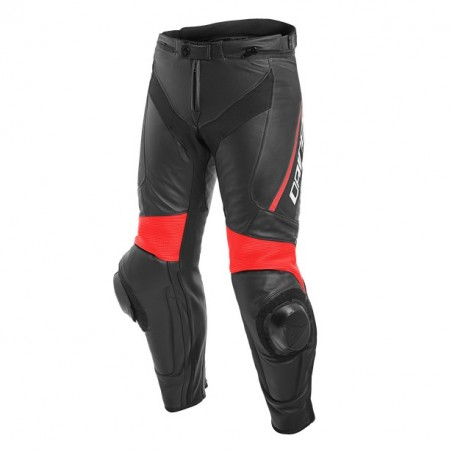 Pantalone pelle moto racing sportiva Dainese Delta 3 nero rosso black red leather pant trouser