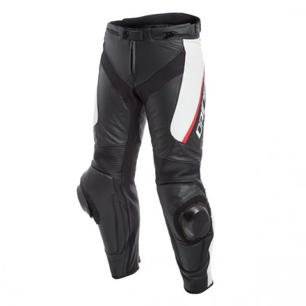 Pantalone pelle moto racing sportiva Dainese Delta 3 nero bianco rosso black white red leather pant trouser