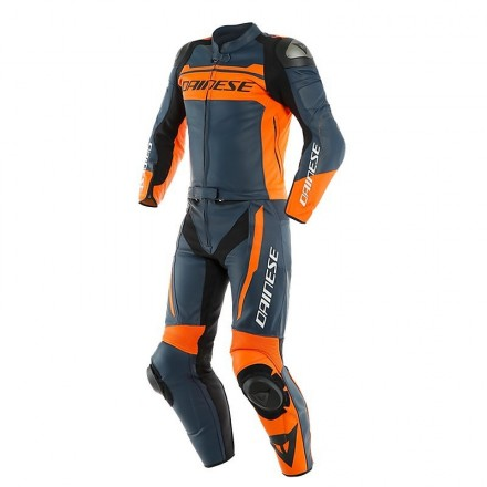 Tuta divisibile pelle moto racing pista Dainese Mistel bianco nero arancione black iris orange 2PCS divisible leather suit