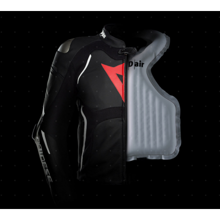 Giacca pelle sportiva moto con Airbag Dainese Racing 3 D-air nero bianco black white leather jacket