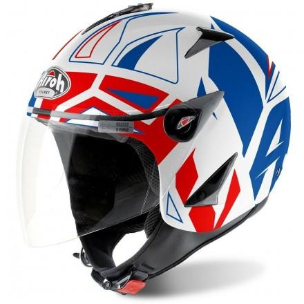Casco jet Airoh Compact Jt color bianco rosso blu white red blue helmet casque