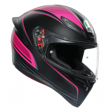 Casco integrale donna moto Agv K-1 Warmup nero opaco rosa matt black pink woman lady helmet casque