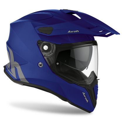 Casco integrale moto on off adventure Airoh Commander Blu opaco blue matt CM19 helmet casque