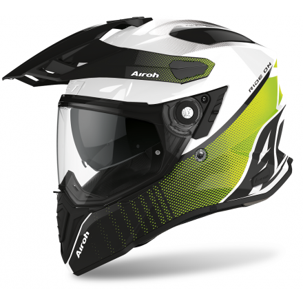 Casco integrale moto on off adventure Airoh Commander Progress bianco verde lime white gloss CMP33 helmet casque