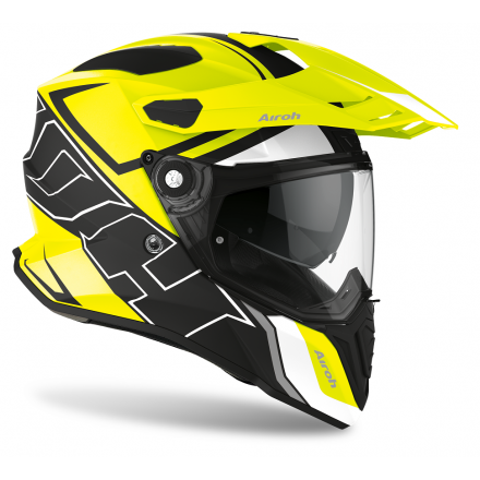 Casco integrale moto on off adventure Airoh Commander Duo giallo opaco nero yellow matt CMD31 helmet casque