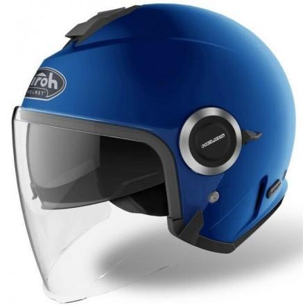 Casco jet moto visiera lunga e visierino da sole Airoh Helios blu opaco blue matt helmet casque