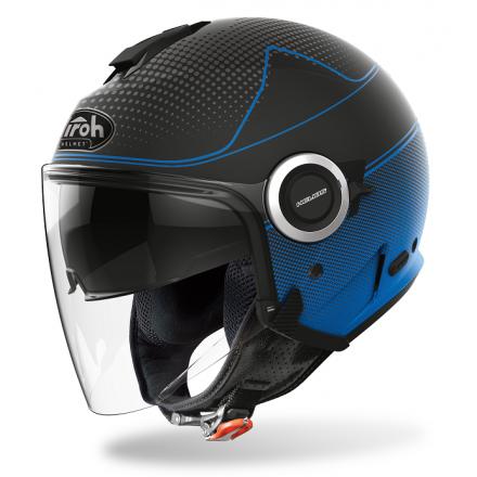 Casco jet moto visiera lunga e visierino da sole Airoh Helios Map nero blu opaco blue matt helmet casque