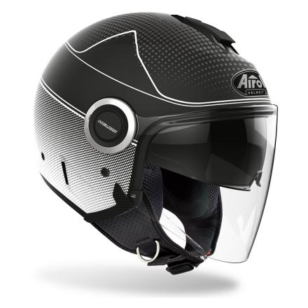 Casco jet moto visiera lunga e visierino da sole Airoh Helios Map nero opaco black matt helmet casque