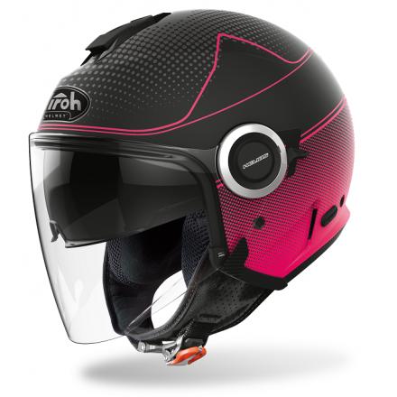 Casco donna jet moto visiera lunga e visierino da sole Airoh Helios Map nero opaco rosa black pink matt lady woman helmet casque
