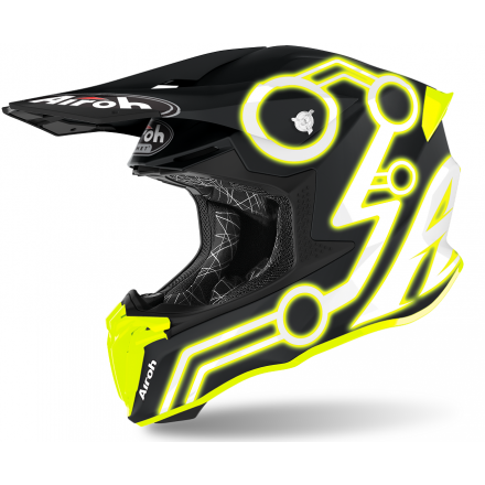 Casco moto cross enduro motard off road Airoh Twist 2.0 Neon giallo opaco yellow matt TW2N31 helmet casque