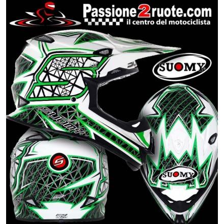 Casco moto cross fibra carbonio Suomy Mr Jump S-Line verde green off road motard enduro helmet casque