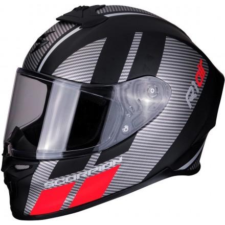 Casco integrale moto fibra Scorpion Exo R1 air Corpus nero opaco argento rosso mat black silver red helmet casque