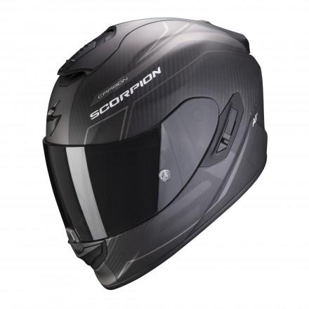 Casco integrale carbonio moto Scorpion Exo 1400 Carbon Beaux nero opaco argento mat black silver helmet casque
