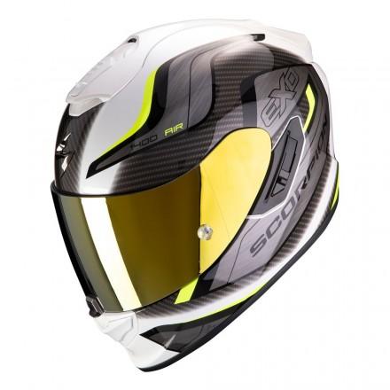 Casco integrale moto fibra Scorpion Exo 1400 Attune bianco giallo white neon yellow helmet casque