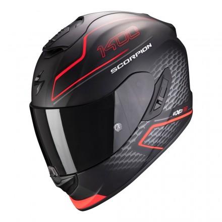 Casco integrale moto fibra Scorpion Exo 1400 Galaxy nero rosso mat neon red helmet casque