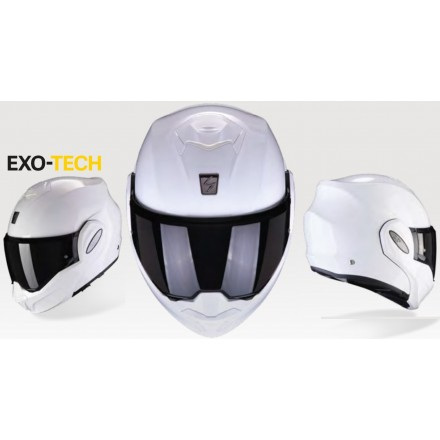 Casco modulare apribile reversibile moto Scorpion Exo Tech bianco white flip up helmet casque