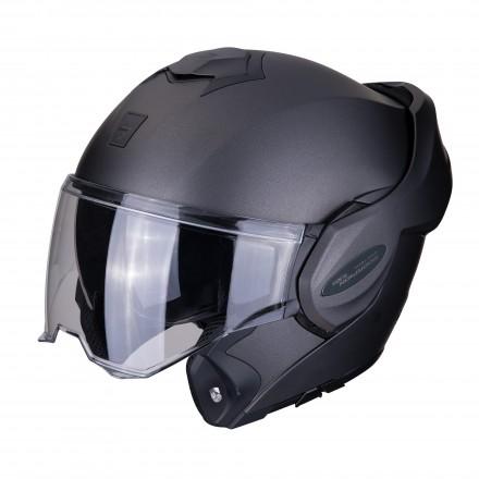 Casco modulare apribile reversibile moto Scorpion Exo Tech antracite opaco mat flip up helmet casque