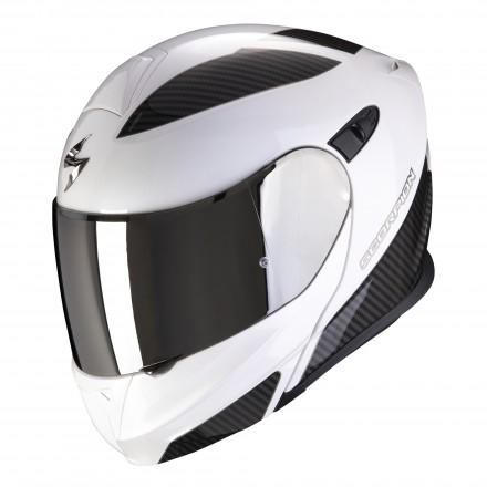 Casco modulare moto Scorpion Exo-920 Flux bianco perla argento pearl white silver flip up helmet