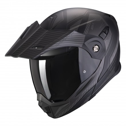 Casco modulare apribile enduro touring adventure moto Scorpion ADX-1 Tucson matt black carbon Helmet casque