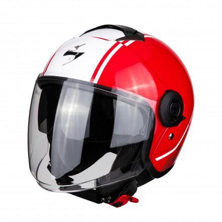Casco jet con visierino parasole interno Scorpion Exo city Avenue rosso bianco red white helmet casque