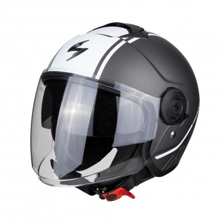 Casco jet con visierino parasole interno Scorpion Exo city Avenue argento opaco bianco mat silver white helmet casque