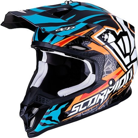 Casco moto cross Scorpion Vx-16 Evo Air Rok Bagoros replica orange blu off road enduro motard helmet casque