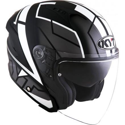Casco jet moto visiera lunga Kyt NF-J Motion bianco white helmet casque