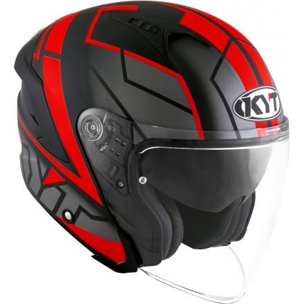 Casco jet moto visiera lunga Kyt NF-J Motion nero opaco rosso mat black red fluo helmet casque
