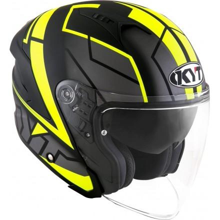 Casco jet moto visiera lunga Kyt NF-J Motion nero opaco giallo mat black yellow fluo helmet casque