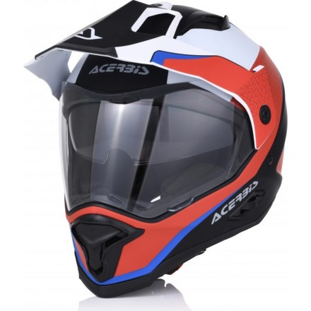 Casco integrale touring adventure moto Acerbis Reactive Graffix bianco rosso blu red white blu helmet casque