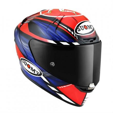 Casco integrale fibra carbonio moto racing pista corsa Suomy Sr-Gp On Board rosso blu blue red fluo hzelmet casque