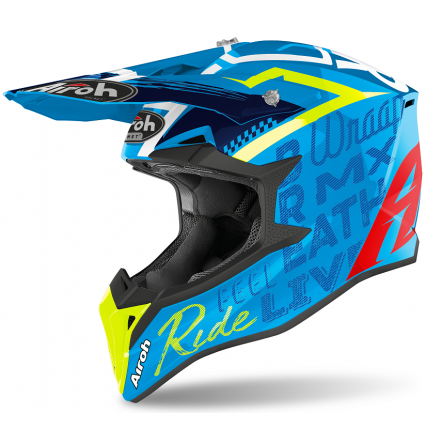 Casco moto cross enduro motard off road Airoh Wraap Street azure gloss WRST99 helmet casque